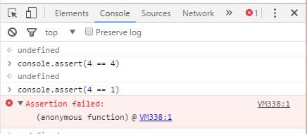 Console.assert in chrome developer tool