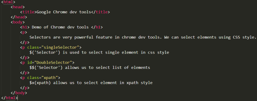 HTML code snippet for selectors