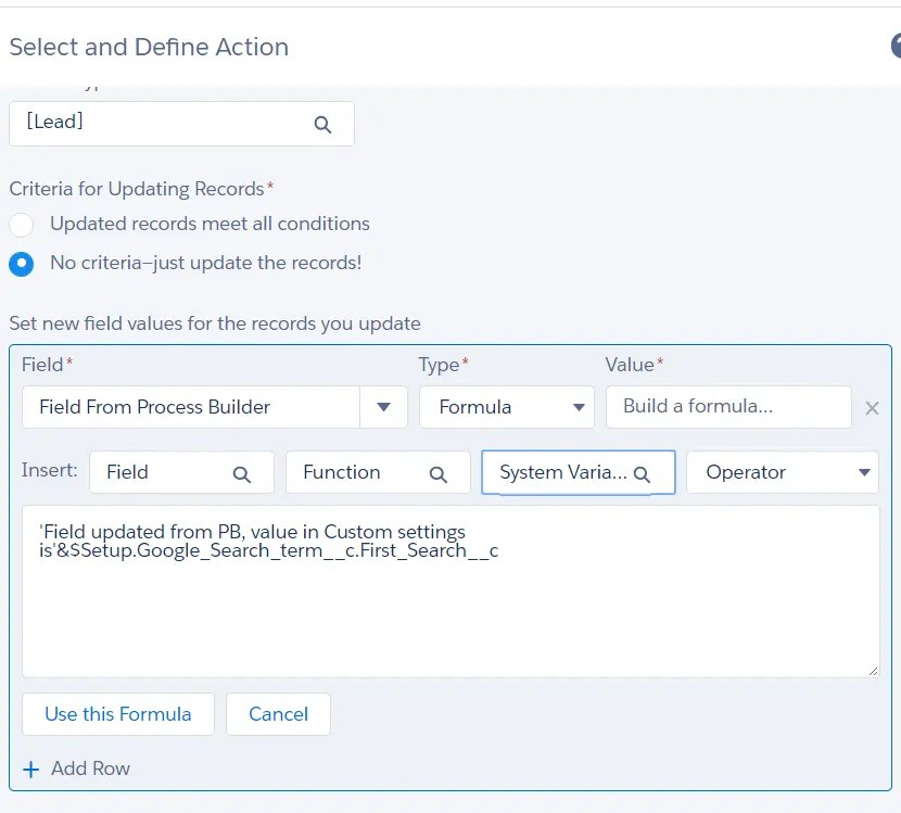 Hierarchy custom setting in Process builder - Record update action