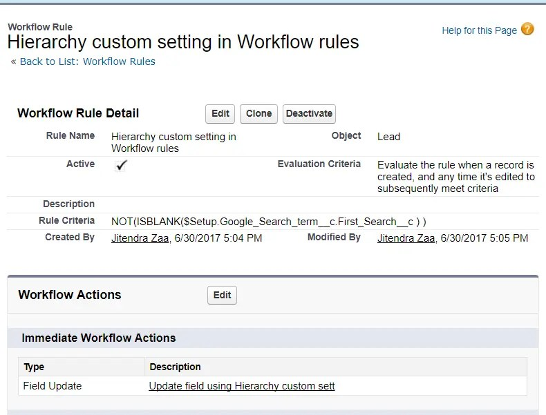 Hierarchy custom setting in Workflow rule criteria