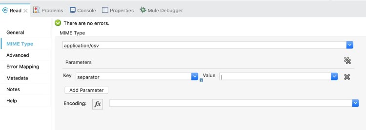 Mulesoft 4 - Pipe Delimited Separator