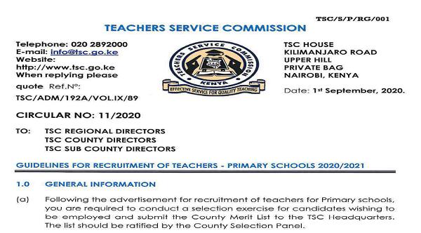 TSC recruitment score sheet for primary school teachers 2020/2021