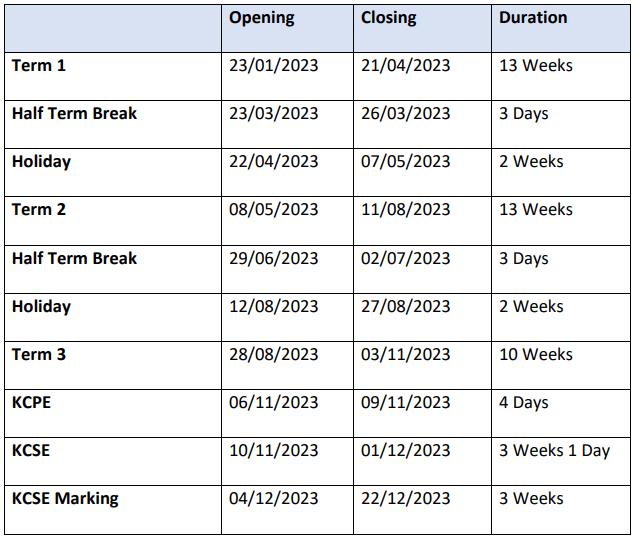 2023 kenyan schools calendar dates