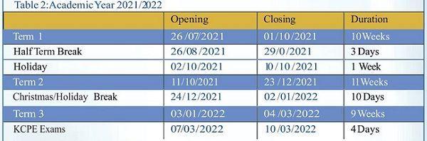 KICD MOE academic calendar 2