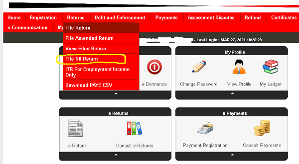 File kra nil returns