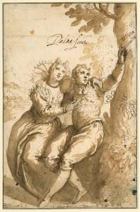 Giacomo Franco (um 1515-1620), zuge- schrieben Liebespaar (Angelica und Medoro), um 1610 Pinsel in Braun, 259 x 168 mm © Staatliche Museen zu Berlin, Kupfer- stichkabinett / Volker H. Schneider