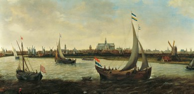 Hendrick Cornelisz Vroom, Ansicht von Haarlem von Noorder Buiten Spaarne um 1625. Öl auf Leinwand, 61 x 122,5 cm, Frans Hals Museum, Haarlem.