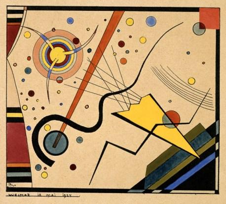 Wassily Kandinsky, Ohne Titel, 1924 Tusche, Aquarell und Deckfarben auf gelblichem holzhaltigem Papier Copyright: VG Bild‐Kunst, Bonn 2014 Bildnachweis: Bauhaus‐Archiv Berlin, Foto: Hermann Kiessling