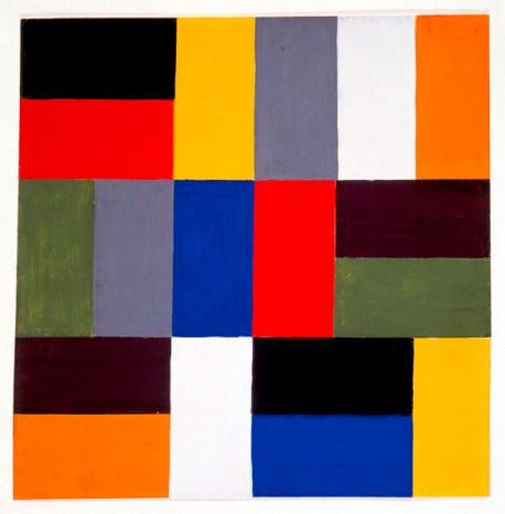 Lothar Lang, Mitte betont durch Wettstreit Blau‐Rot, Unterricht Kandinsky, 1929 Tempera über Bleistiftvorzeichnung Bildnachweis: Bauhaus‐Archiv Berlin, Foto: Atelier Schneider