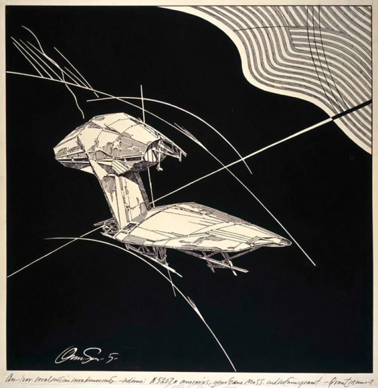 Lebbeus Woods. Geomagnetic Flying Machines. 1988. Tusche auf Transparentpapier auf Karton, 832 × 811 mm © Estate of Lebbeus Woods