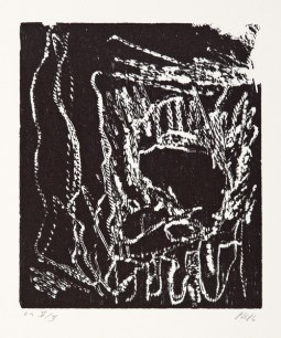 Per Kirkeby, Ohne Titel, 1986; Holzschnitt; Darstellung: 234 x 200 mm, Blatt: 555 x 480 mm; Museum Jorn, Silkeborg, © Per Kirkeby, Foto: Lars Bay, Museum Jorn, Silkeborg