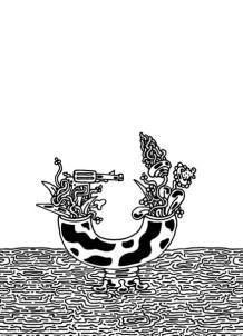 Patrick Oltean, Kadô / Living Flowers, Fineliner auf Papier, Riso- und Siebdruck. Buch über die meditative Kunst des Ikebana, mit Zeichnungen von Blumenarrangements und Haikus nach den Jahreszeiten.