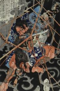 Utagawa Kuniyoshi (1797–1861) »Der Held lnohayato Hironao tötet das Fabelwesen 'Nue'«. Aus der Serie 800 japanische Helden des Suikoden, Signatur: lchiyusai Kuniyoshi ga, Zensorsiegel: Kiwame (1790–1842), Verleger: Kagaya Kichibei, Format: Oban, Sammlung Neue Galerie Graz / Universalmuseum Joanneum