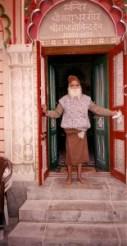 Maharajji in front of mandir