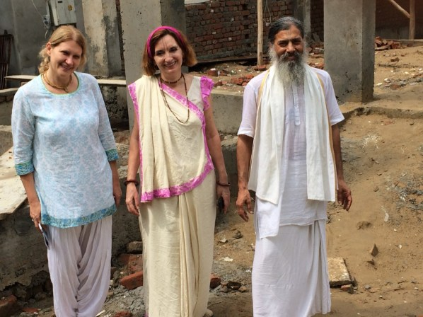 Joshika on construction site tour with Jaya and Babaji