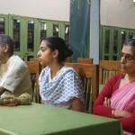Manju (r.) with daughter Krsna-priya and husband