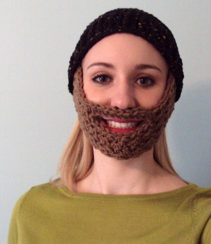 Childrens Knit Hat With Beard Lotion