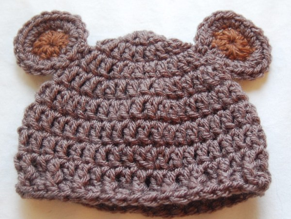 Crochet Beanie Hat Pattern For Babies : Newborn Bear Hat Crochet Pattern & Crochet Baby Bear Hat