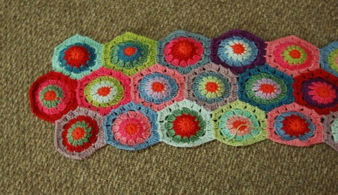 Top Right of Crochet Hexagon Blanket