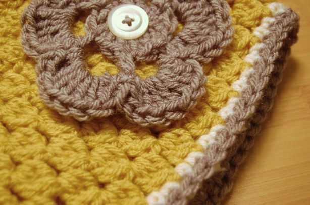 Mustard Yellow, Gray, and White Crochet Hat with Flower