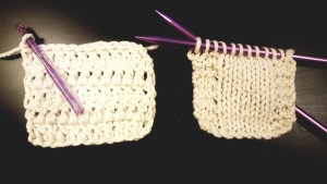 Crocheting (left) vs. Knitting (right)