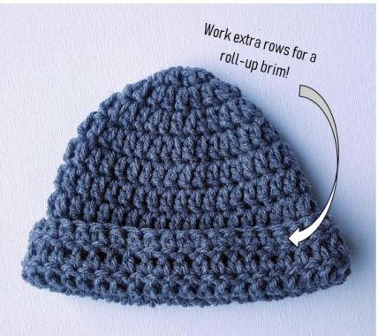 crochet baby hat with brim