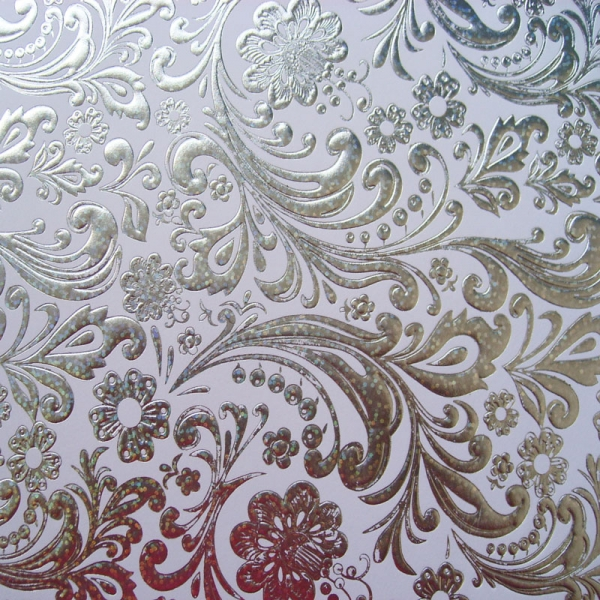 Kanban Background Card Silver Holographic Floral Scroll
