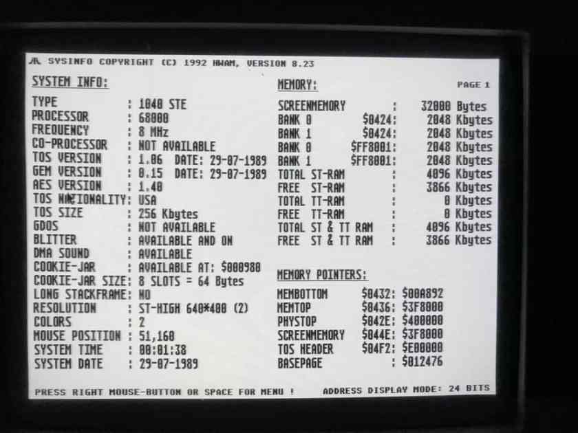 jjATR HC 1040STe SysInfo screen