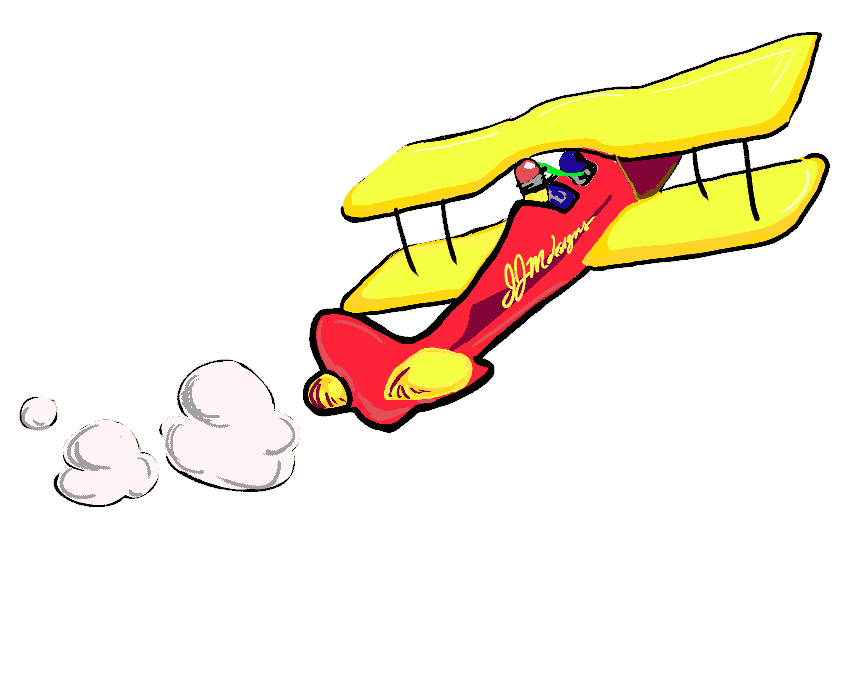 Pencil Pete Flying a Biplane