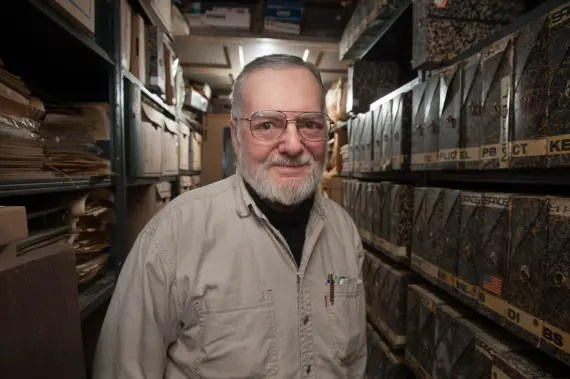 Jacques Tiziou in his archive room in Washington DC, 2013