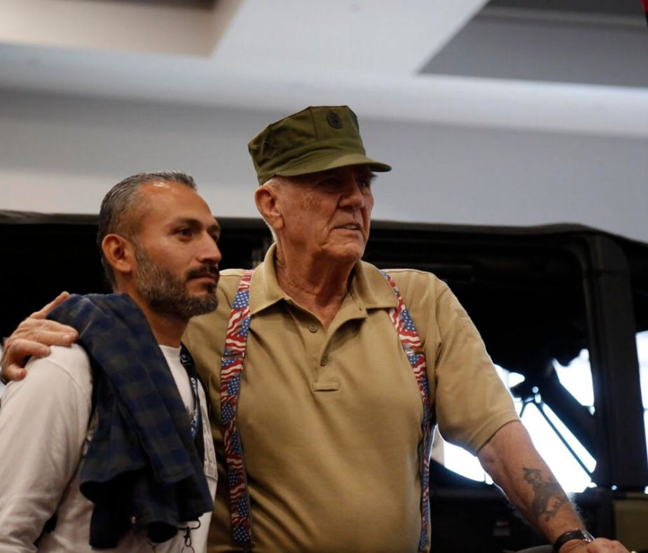 R. Lee Ermey and fan at SEMA.