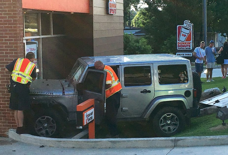 Jeep crashes into Dunkin' Donuts