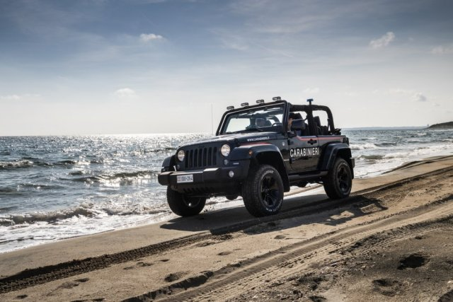Italian Military Jeep on the Beach