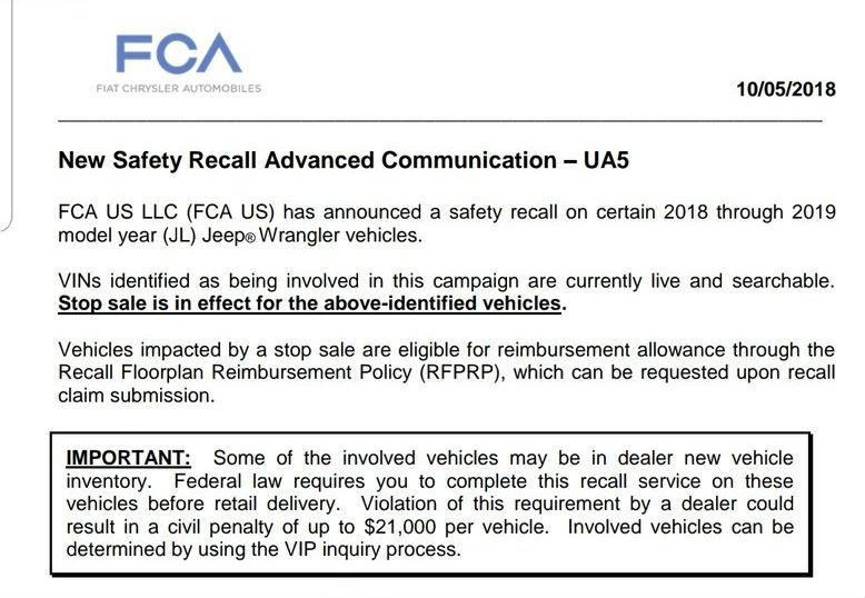 FCA recall.