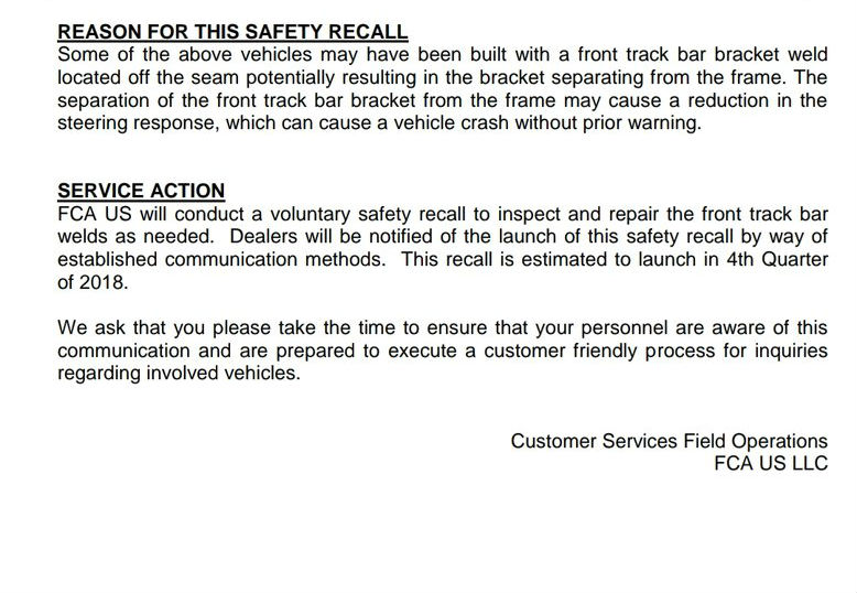 FCA recall