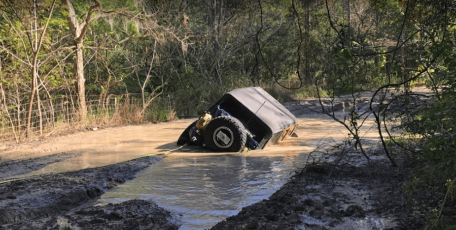 JK Wrangler suffers watery fate.