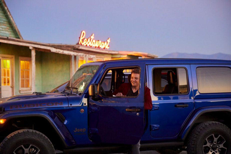Jeremy Renner with Jeep Wrangler Rubicon Unlimited