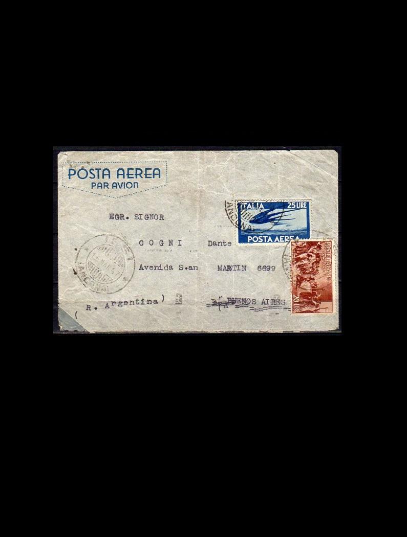 Italien Luftpostbrev 1947