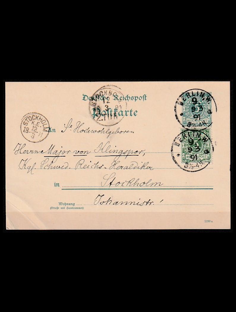 Tyske Rige Opfrankeret helsag 1891