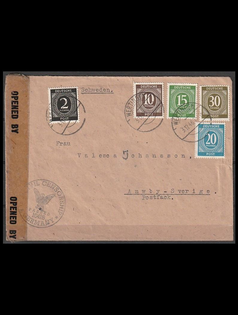 Tyskland Zone brev til Sverige 3-12-46