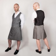 Short kilt and vest, glen plaid worsted wool, 2011