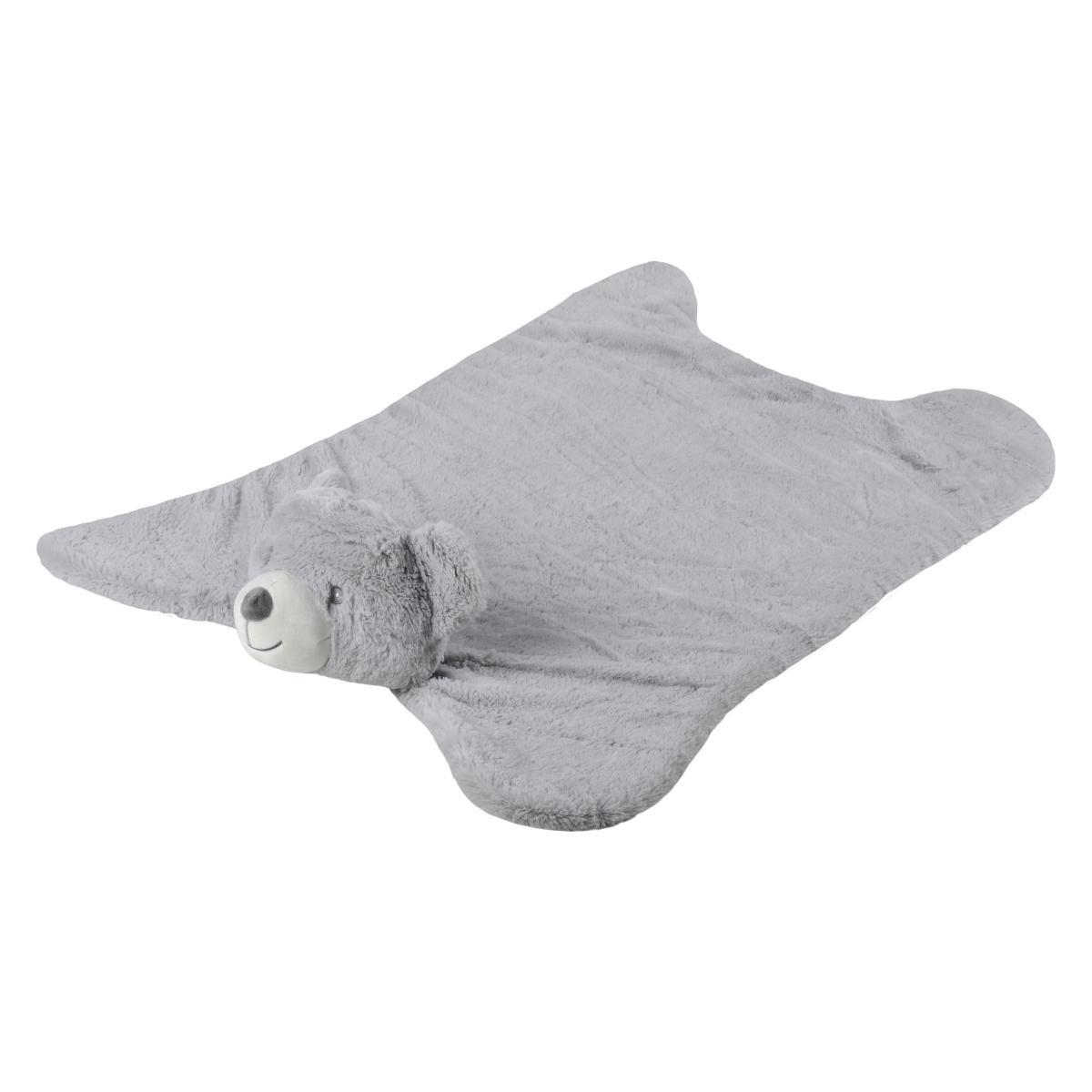tapis de sol ou d eveil ours markus gris 90x60cm 100 polyester