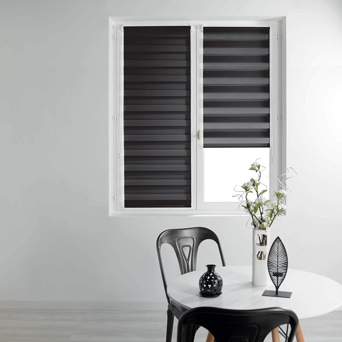 store enrouleur jour nuit 45x180cm noir 100 polyester interieur