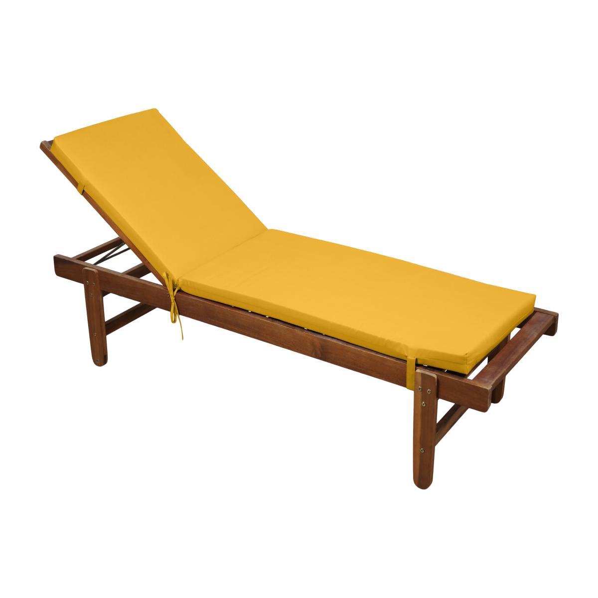matelas bain de soleil dehoussable jaune moutarde 60x190cm 100 microfibre attache a clips