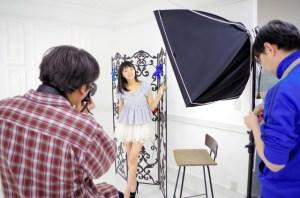 The idol Arisa Machida at a photography session at the Fresh! Studio in Akihabara, Tokyo.