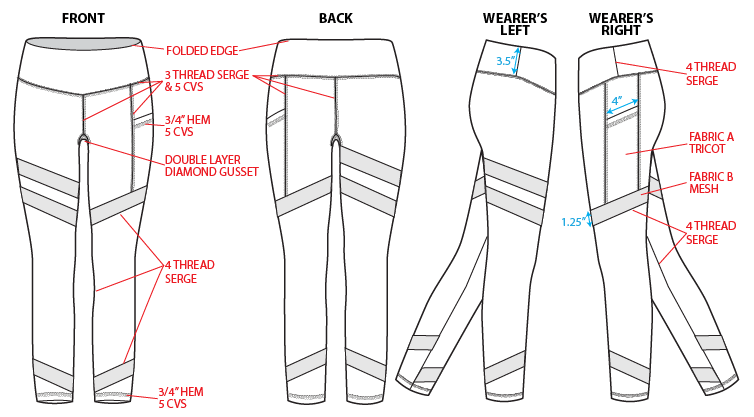 legging technical sketch