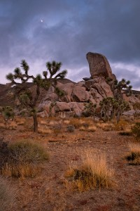 The moon rises during a stormy sunset at Tombstone Rock in Joshua Tree National Park. www.JLongPhoto.com