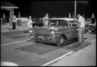 Any car can race if it can pass a basic safety inspection. I was told this 1956 Chevrolet is a regular competitor.
