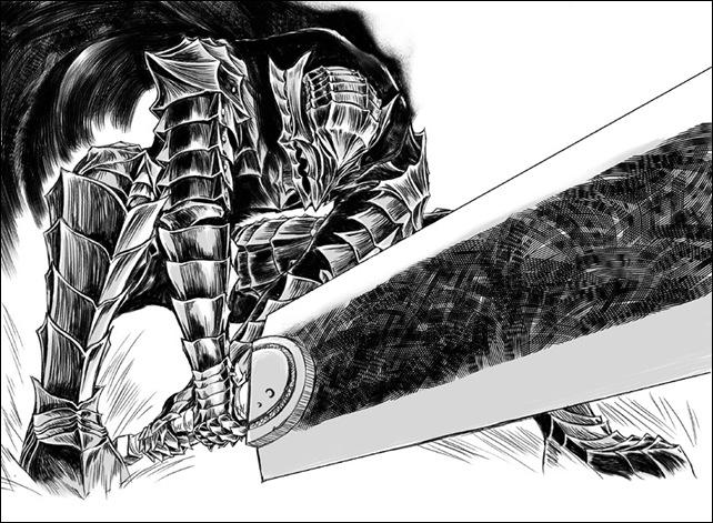 Imagen del cómic japonés <em>Berserk</em>, caracterizado por las espadas de imposibles dimensiones que blanden sus protagonistas.