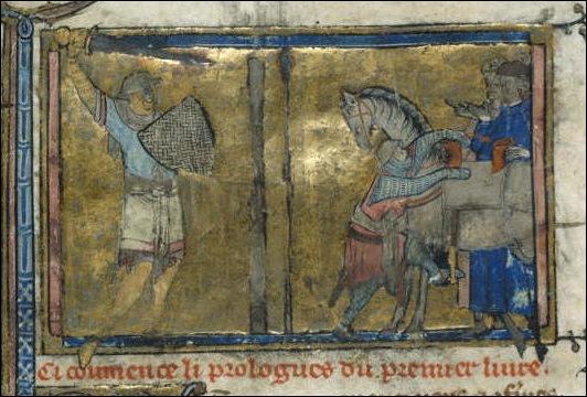 Ilustración en un códice del s. XIV que muestra el ejercicio de «tirar al poste»